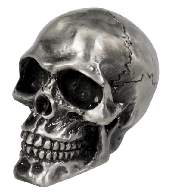 cracked skull ornamental statue for fenders bonnet mascot old silver
