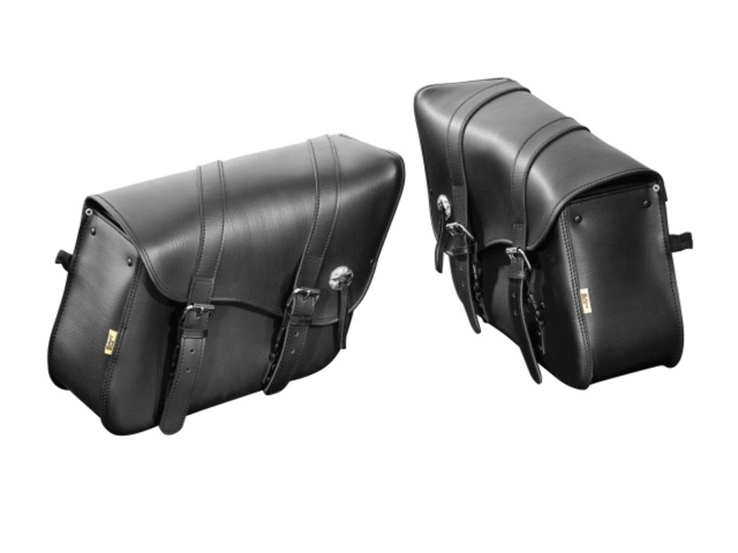 stylish indiana saddlebag luggage set black real leather large size
