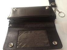 real leather quality biker trucker wallet chain black