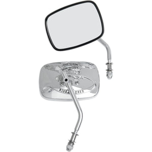 Chrome Live To Ride Rectangle Harley-Davidson Mirrors (Pair)