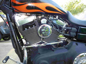 Chrome & Black Flame Replacement Horn Cover for Harley-Davidson