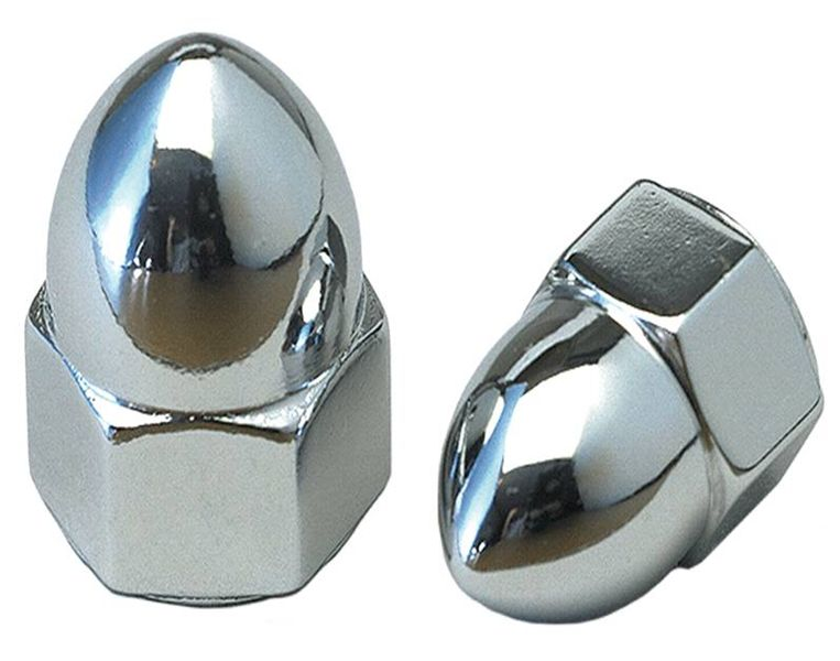 Pair Chrome 10mm Acorn Nuts for Metric Motorcycles M10 x 1.5 Thread