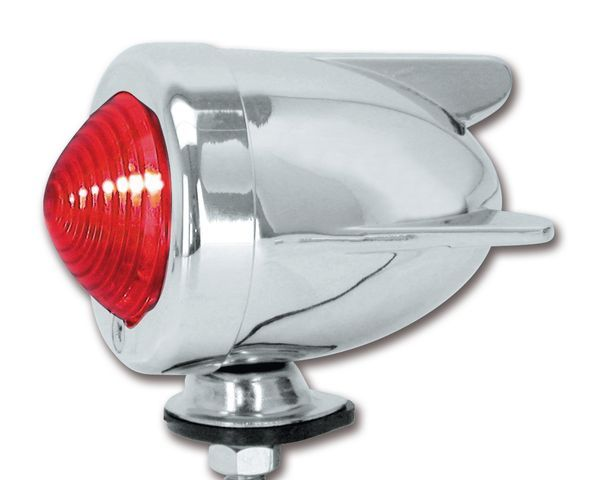 Winged Zeppelin Chrome Bullet Light Red Dual Filament Stop Tail Light