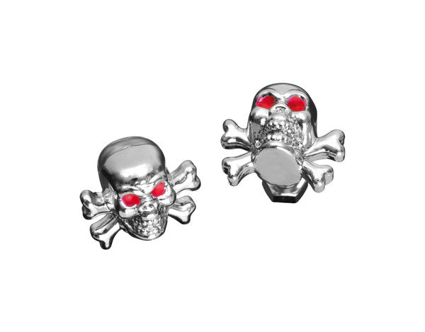 Pair Skull Crossbones Bolts & Nuts/Licence Plate Screws Red Eyes