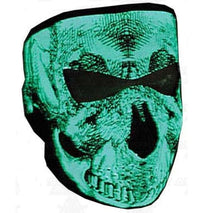 Load image into Gallery viewer, Black & White Glow In The Dark Neoprene Full Face Mask -Grinning Skull