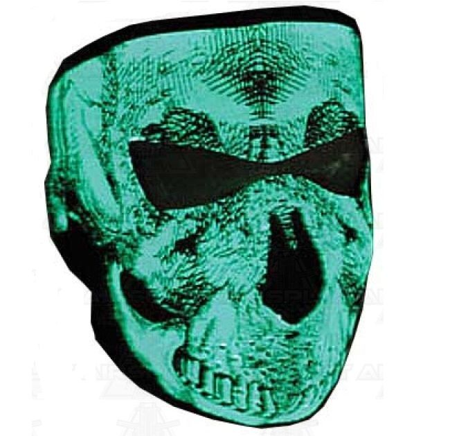 Black & White Glow In The Dark Neoprene Full Face Mask -Grinning Skull