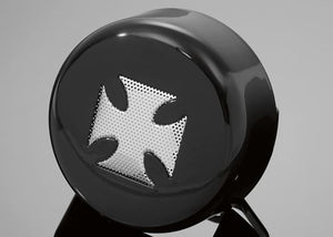 Black & Chrome Maltese Iron Cross Horn Cover for Harley-Davidson