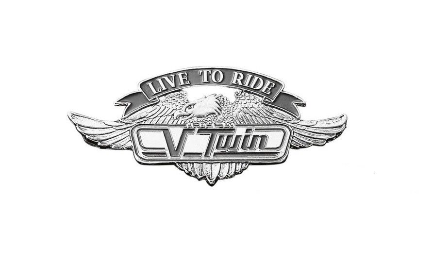 Live To Ride V Twin Motorcycle Emblem With Eagle (S)