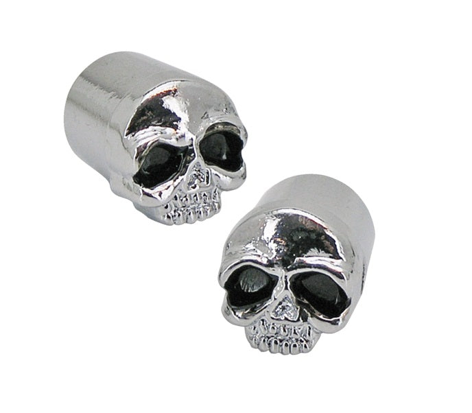 Skull Tyre Valve Dust Caps (Pair) for Motorcycle/Car/Trike Black Eyes
