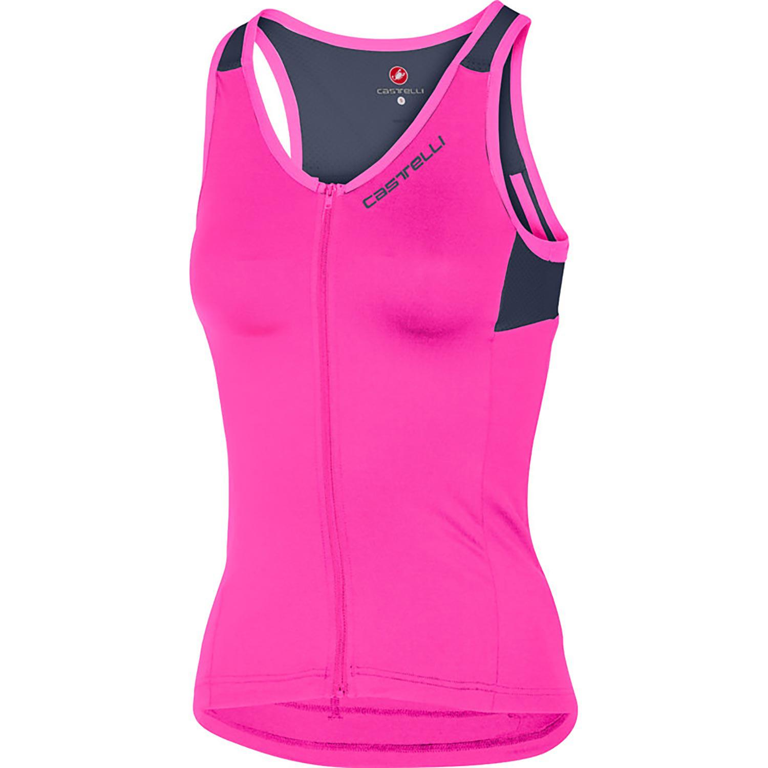 Castelli-Castelli Solare Top-Pink Fluo/Dark Steel Blue-XS-CS170640221-saddleback-elite-performance-cycling