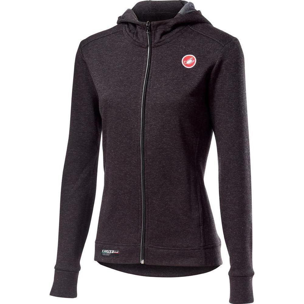 Castelli-Castelli Milano Full Zip Women's Fleece-Melange Light Black-XS-CS195730851-saddleback-elite-performance-cycling