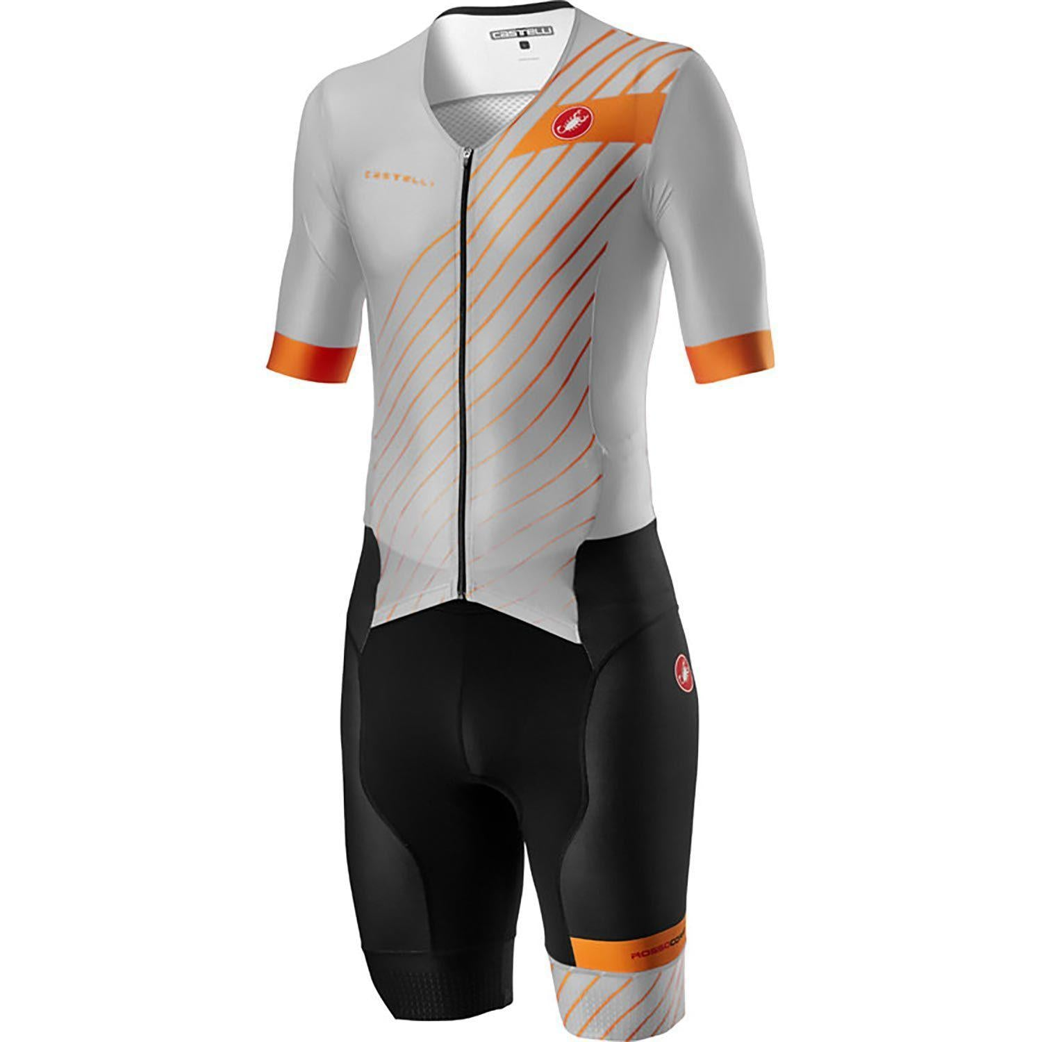 Castelli-Castelli Free Sanremo 2 Suit Short Sleeve-Silver Gray/Brilliant Orange-S-CS200928702-saddleback-elite-performance-cycling