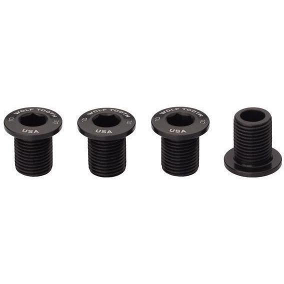 Wolf Tooth-Wolf Tooth Chainring Bolts - Set of 4 for 1X-10mm-Black-WT4CB10BLK-saddleback-elite-performance-cycling