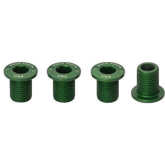 Wolf Tooth-Wolf Tooth Chainring Bolts - Set of 4 for 1X-Green-Uni-WT4CB10GRN-saddleback-elite-performance-cycling