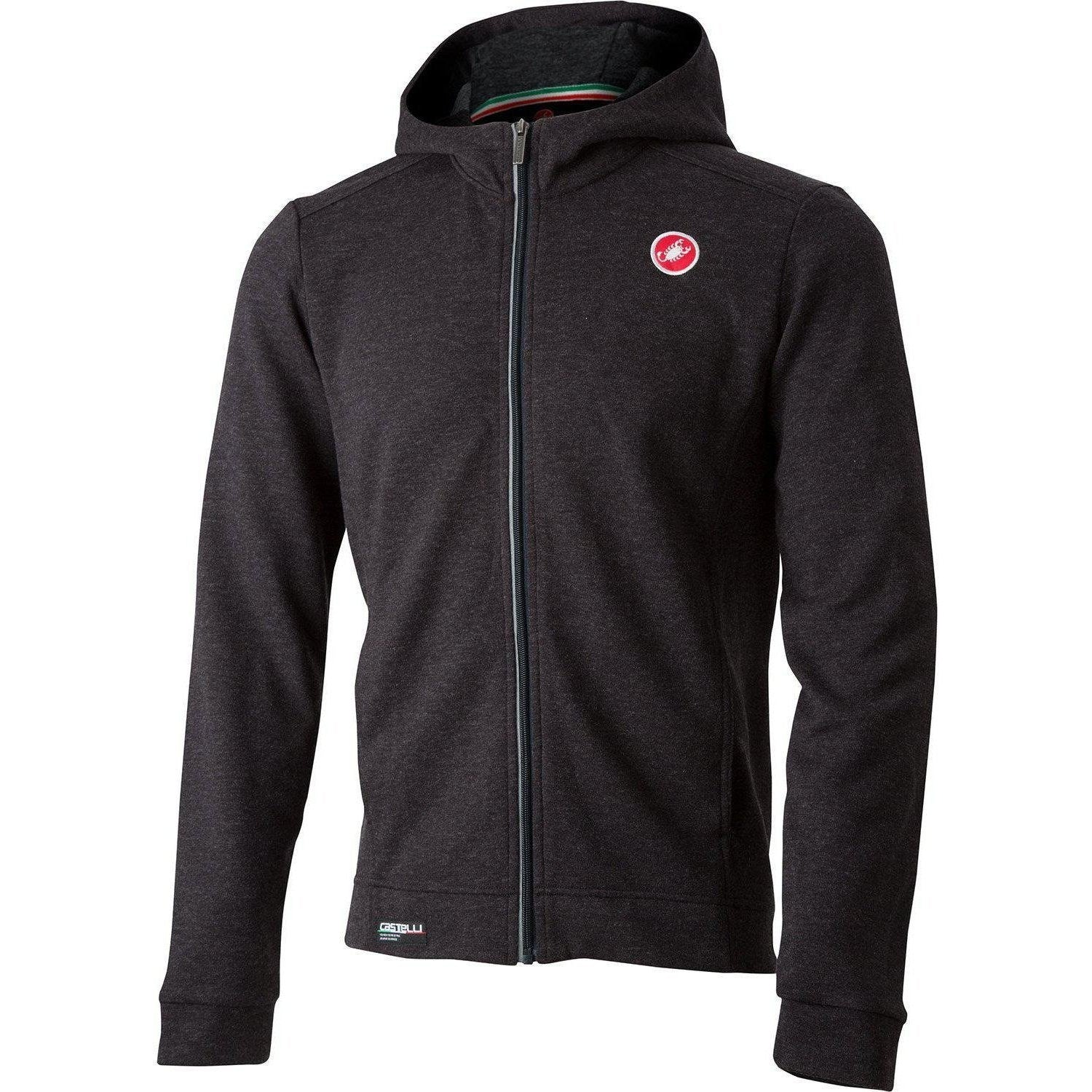 Castelli-Castelli Milano Full Zip Fleece Hoodie-Melange Light Black-XS-CS185590851-saddleback-elite-performance-cycling