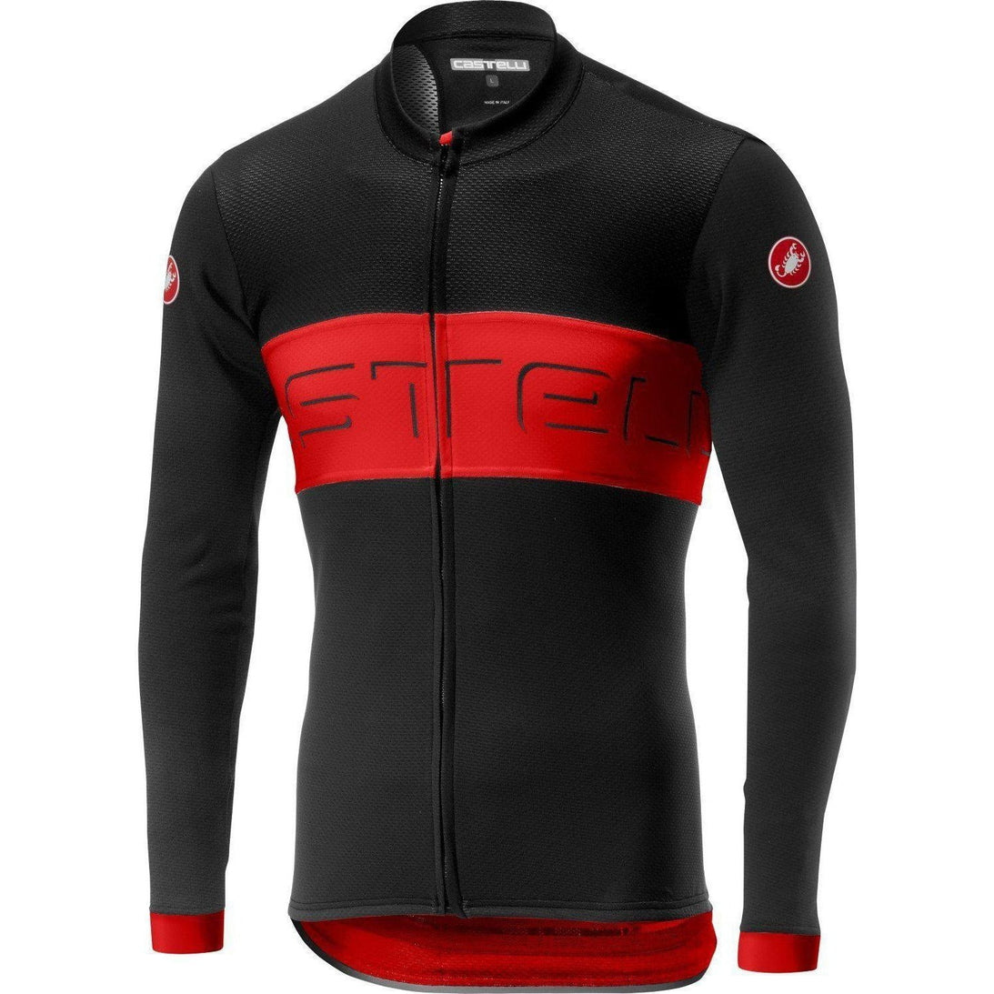 Castelli-Castelli Prologo VI Longsleeved Jersey-Black/Red/Black-S-CS190162312-saddleback-elite-performance-cycling