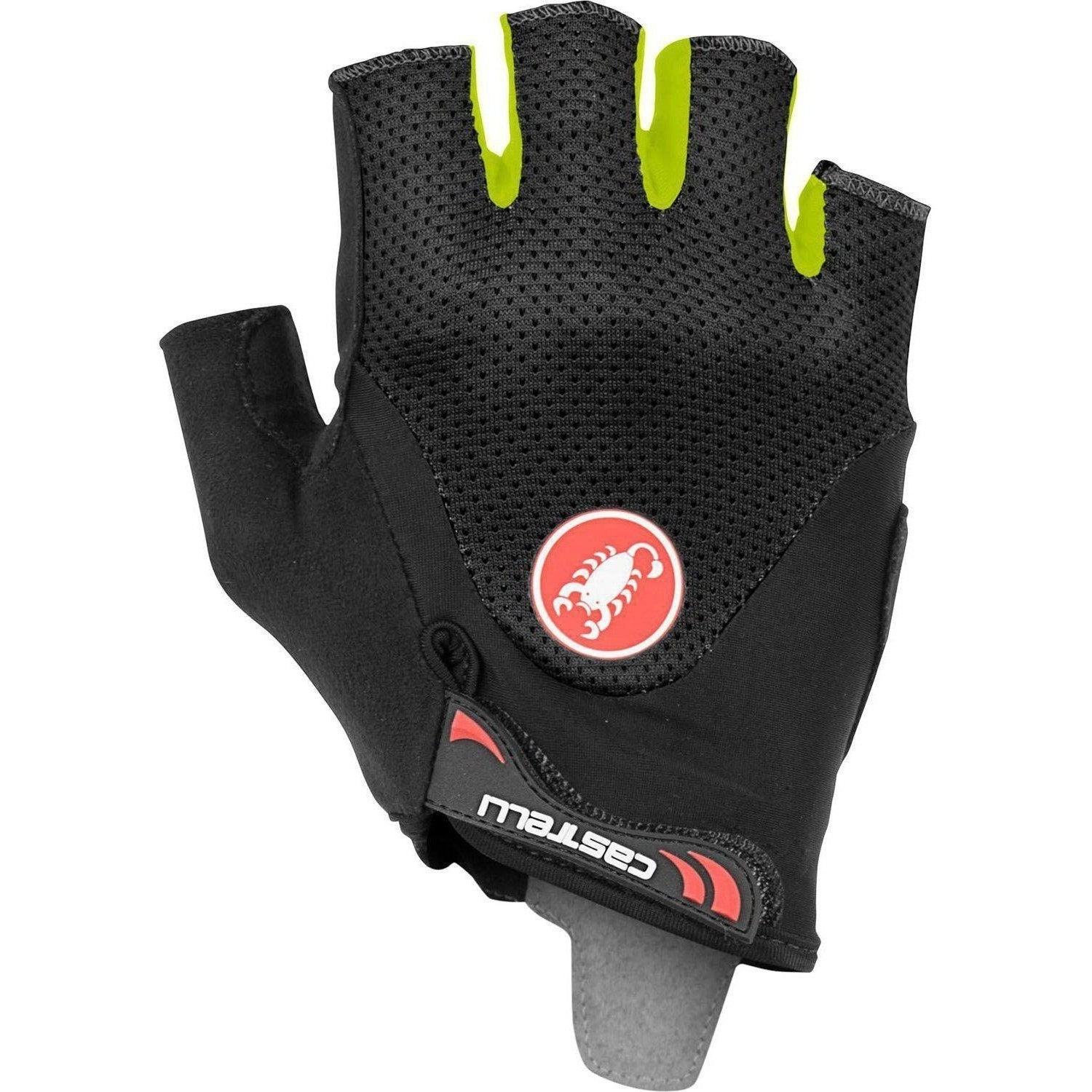 Castelli-Castelli Arenberg Gel 2 Gloves-Black/Yellow Fluo-XS-CS190283211-saddleback-elite-performance-cycling