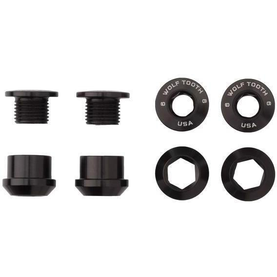 Wolf Tooth-Wolf Tooth Chainring Bolts and Nuts - Set of 4 for 1X-Black-Set of 4-WT4CBCN06BLK-saddleback-elite-performance-cycling