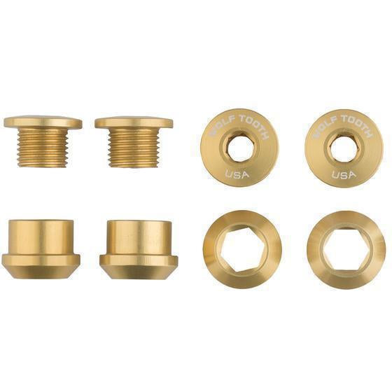 Wolf Tooth-Wolf Tooth Chainring Bolts and Nuts - Set of 4 for 1X-Gold-Set of 4-WT4CBCN06GLD-saddleback-elite-performance-cycling