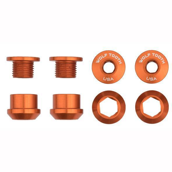 Wolf Tooth-Wolf Tooth Chainring Bolts and Nuts - Set of 4 for 1X-Orange-Set of 4-WT4CBCN06ORG-saddleback-elite-performance-cycling