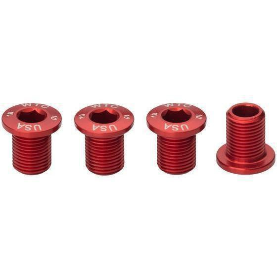 Wolf Tooth-Wolf Tooth Chainring Bolts - Set of 4 for 1X-10mm-Red-WT4CB10RED-saddleback-elite-performance-cycling