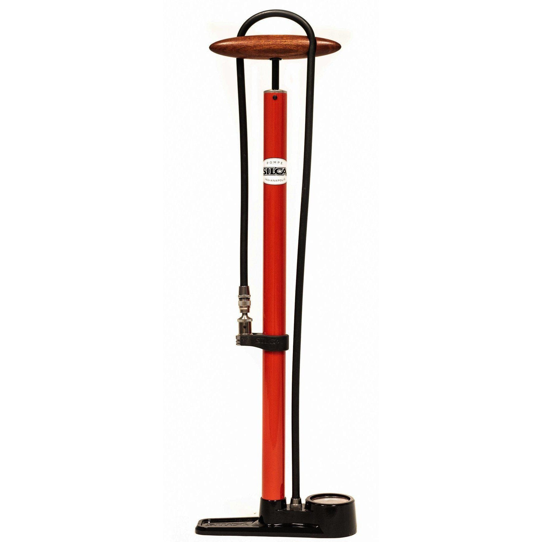 Silca-Silca Pista Floor Pump-Red-Uni-SIAMPU001ASY0101-saddleback-elite-performance-cycling