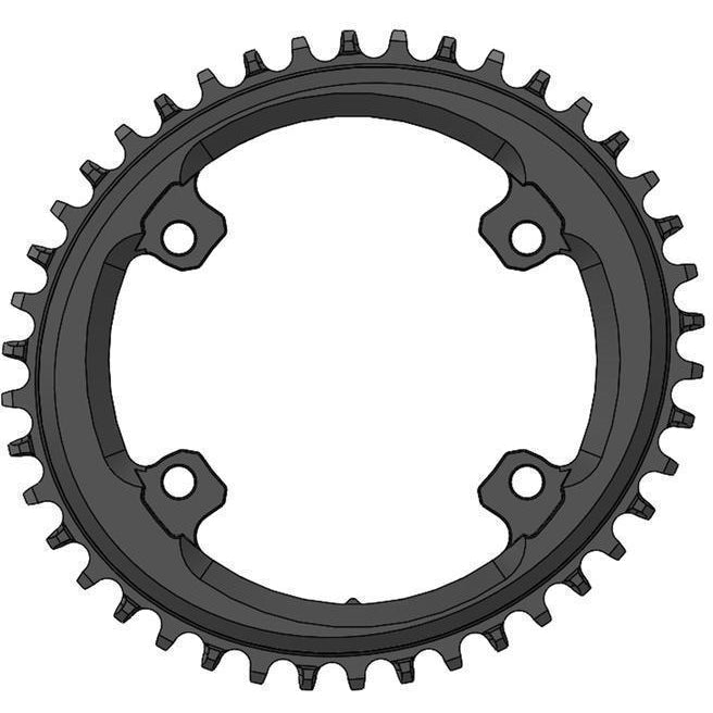 Wolf Tooth-Wolf Tooth Elliptical 110 BCD 4 Bolt Chainring for Shimano GRX-Black-38T-WTOVALSH11038GR-saddleback-elite-performance-cycling
