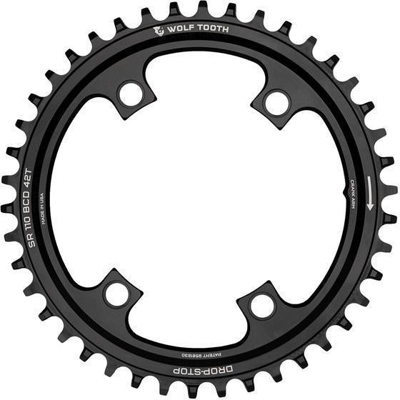Wolf Tooth-Wolf Tooth 110 BCD Asymmetric 4-Bolt for SRAM Cranks-Black-44t-WTSR11044-saddleback-elite-performance-cycling