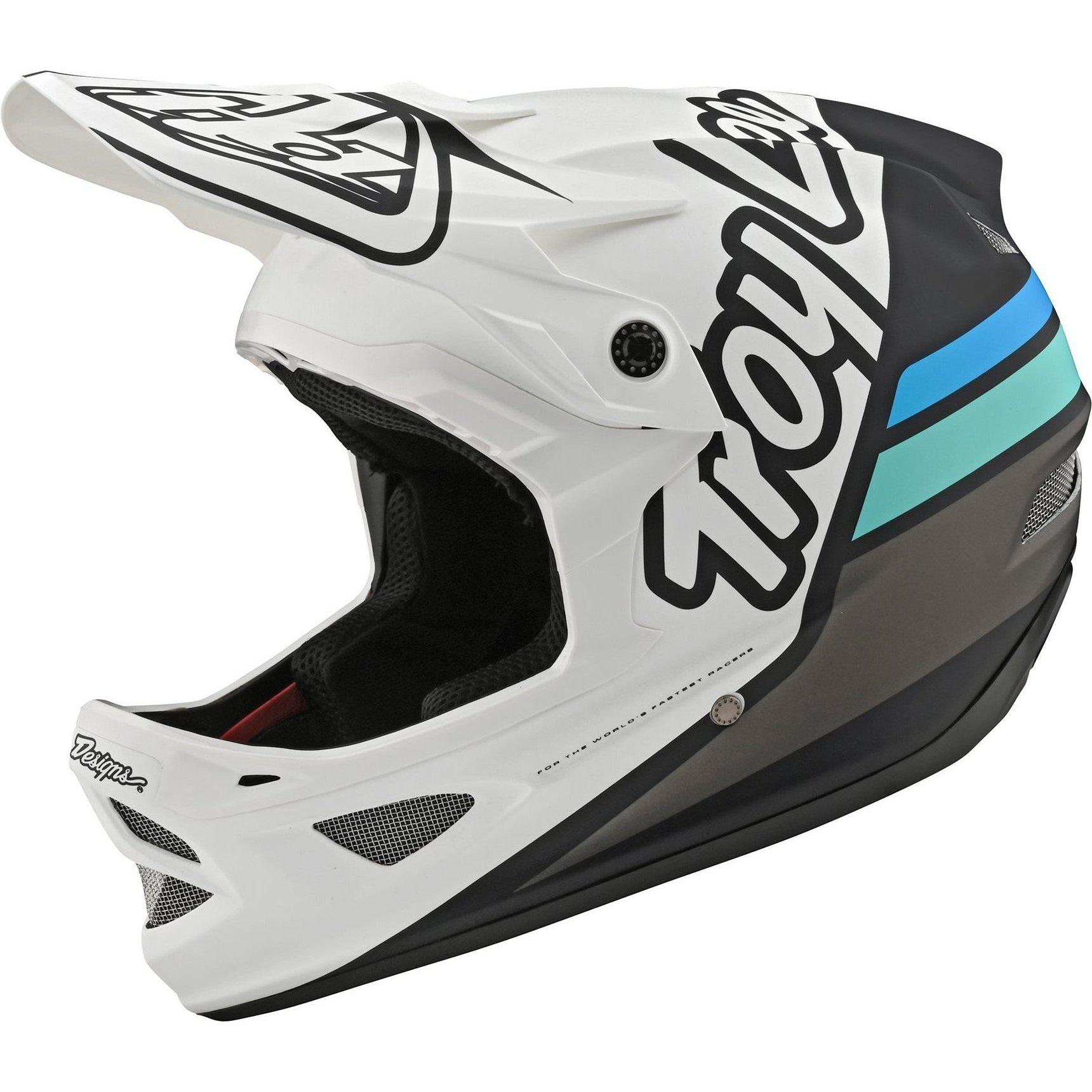 Troy Lee Designs-Troy Lee Designs D3 Fiberlite Helmet-Silhouette - White/Navy-L-TLD198757034-saddleback-elite-performance-cycling