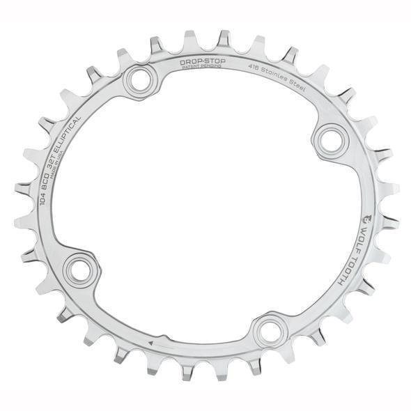 Wolf Tooth-Wolf Tooth Elliptical 104 BCD Stainless Steel Chainring-Stainless Steel-32t-WTOVAL10432-SST-saddleback-elite-performance-cycling