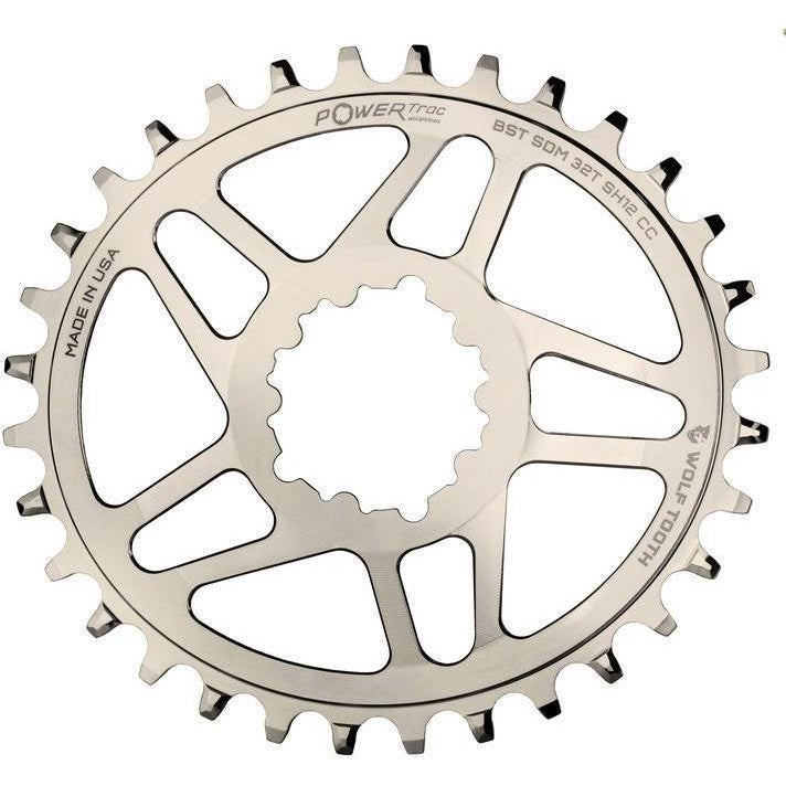 Wolf Tooth-Wolf Tooth Elliptical Direct Mount Chainring for eeWing cranks with 12-speed HG+-Silver-32T-WTOVALSDM32BSTNISH12-saddleback-elite-performance-cycling