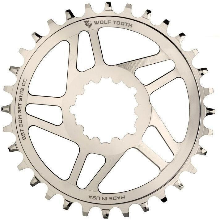 Wolf Tooth-Wolf Tooth Direct Mount Chainring for eeWing cranks with 12-speed HG+-Silver-32T-WTSDM32BSTNISH12-saddleback-elite-performance-cycling
