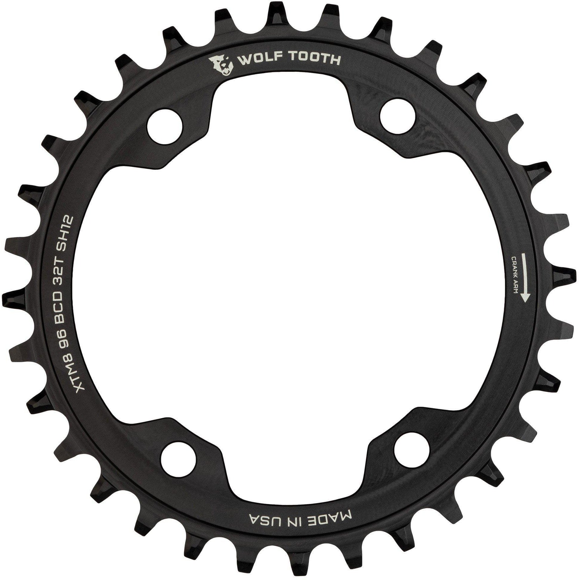 Wolf Tooth-Wolf Tooth 96 BCD Chainring for XT M8000 Shimano 12 speed-30T-Black-WTXTM8K9630SH12-saddleback-elite-performance-cycling