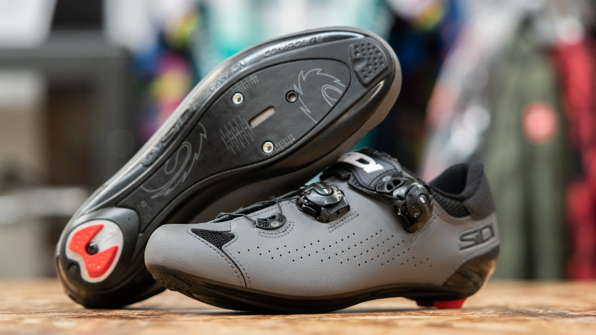 Sidi Genius 10 road cycling shoes stacked on table