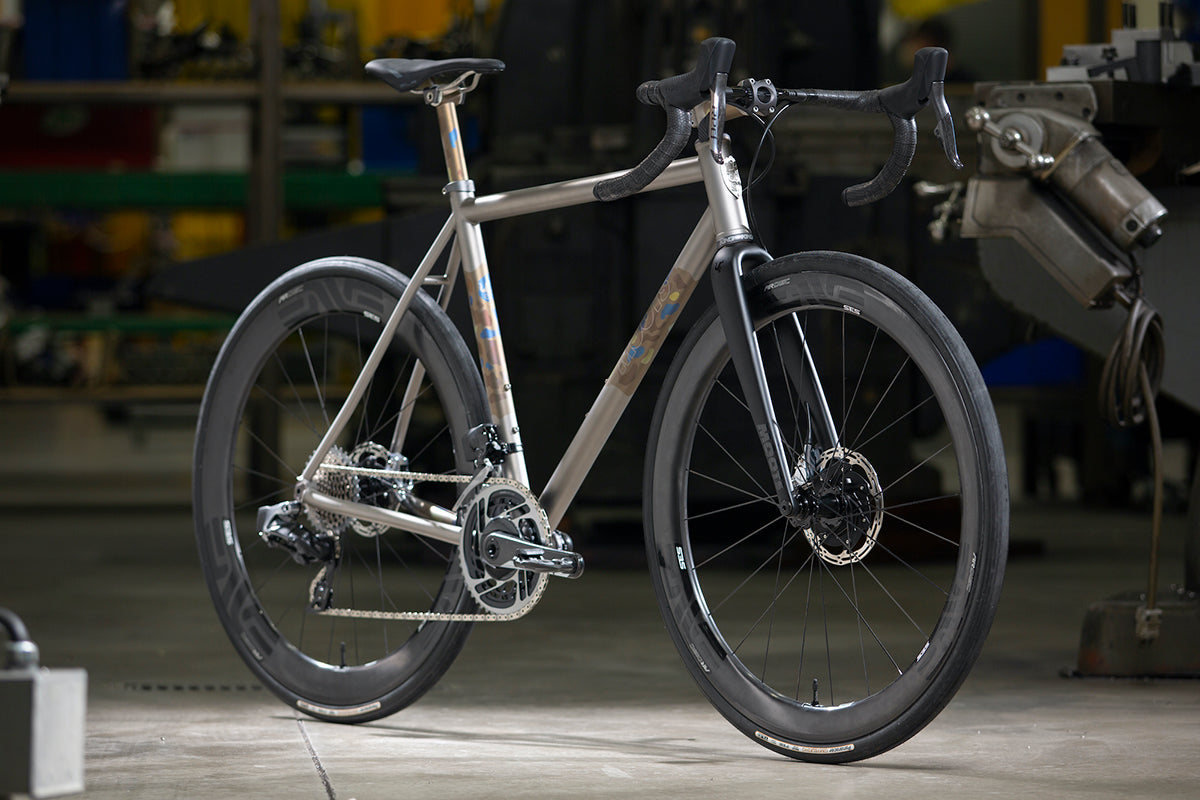 Moots Vamoots RCS photographed in a workshop at a three quarter angle