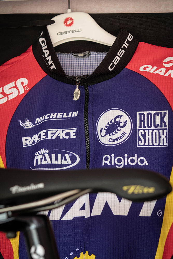 Classic 90s Giant cycling jersey on hanger