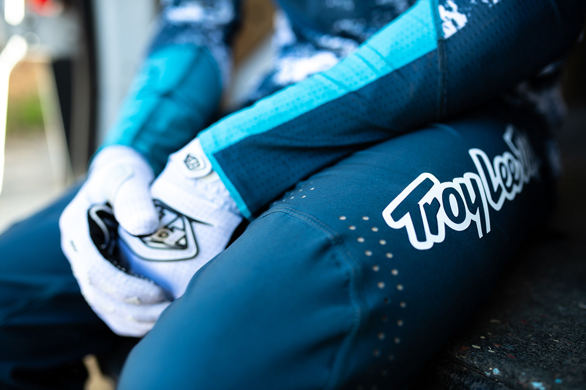 Close up of the TLD Sprint Ultra Pants showing the TLD logo and perforation