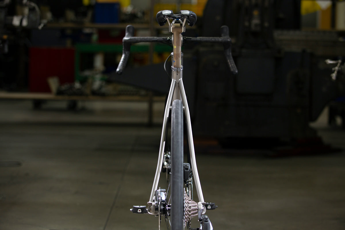 The all-new Moots RCS shot from behind to show the tyre width and seat stay design