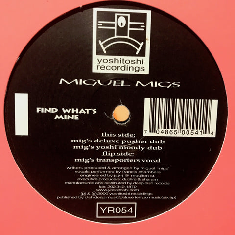 YR054 - Miguel Migs - Find Whats Mine (Vinyl)