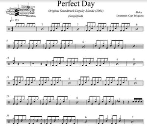 Perfect Day - Hoku - Simplified Drum Transcription / Drum Sheet Music - DrumSetSheetMusic.com
