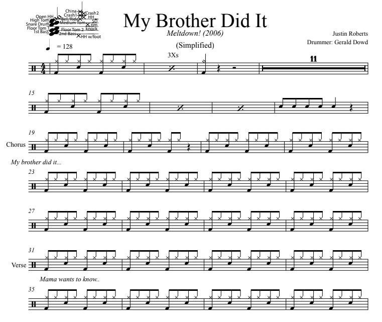 My Brother Did It - Justin Roberts - Simplified Drum Transcription / Drum Sheet Music - DrumSetSheetMusic.com