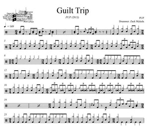 Guilt Trip - PUP - Full Drum Transcription / Drum Sheet Music - DrumSetSheetMusic.com