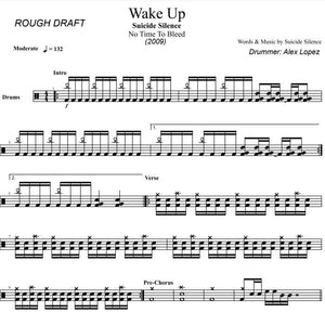 Wake Up - Suicide Silence - Rough Draft Drum Transcription / Drum Sheet Music - DrumSetSheetMusic.com