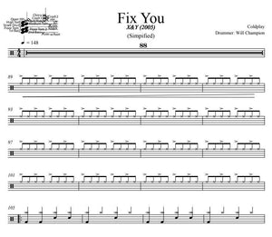 Fix You - Coldplay - Simplified Drum Transcription / Drum Sheet Music - DrumSetSheetMusic.com