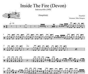 Inside The Fire (Devon) - Disturbed - Simplified Drum Transcription / Drum Sheet Music - DrumSetSheetMusic.com