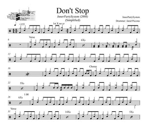 Don't Stop - InnerPartySystem - Simplified Drum Transcription / Drum Sheet Music - DrumSetSheetMusic.com