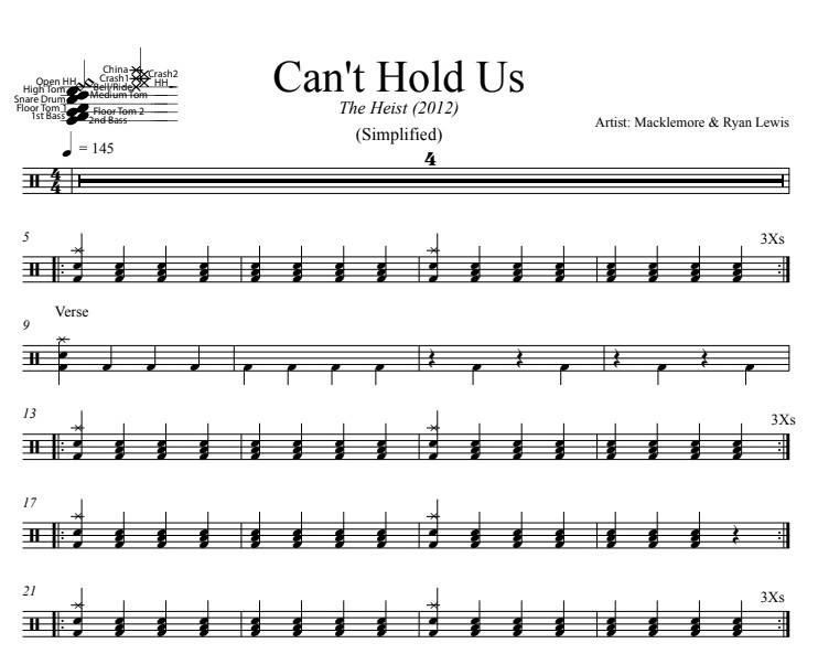 Can't Hold Us - Macklemore & Ryan Lewis - Simplified Drum Transcription / Drum Sheet Music - DrumSetSheetMusic.com