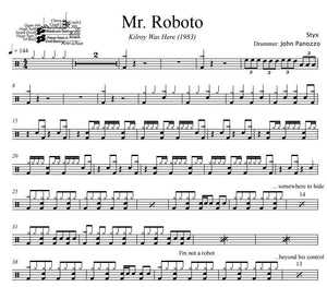 Mr. Roboto - Styx - Full Drum Transcription / Drum Sheet Music - DrumSetSheetMusic.com