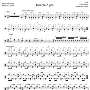 Double Agent - Rush - Collection of Drum Transcriptions / Drum Sheet Music - Drumm Transcriptions
