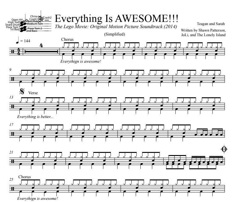 Everything Is AWESOME!!! - Teagan and Sarah - Simplified Drum Transcription / Drum Sheet Music - DrumSetSheetMusic.com